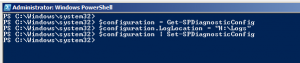 Setting the log folder path using PowerShell