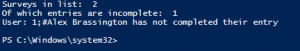 PowerShell results showing the results from a script
